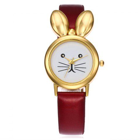 Buy Faux Leather Strap Rabbit Ears Quartz Watch - RED  Mobile