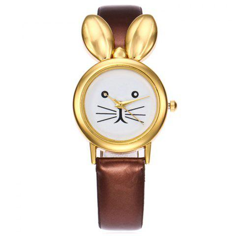 Store Faux Leather Strap Rabbit Ears Quartz Watch - COFFEE  Mobile