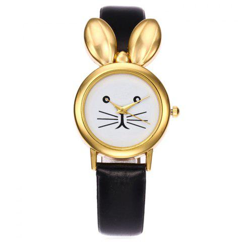 Faux Leather Strap Rabbit Ears Quartz Watch - Black