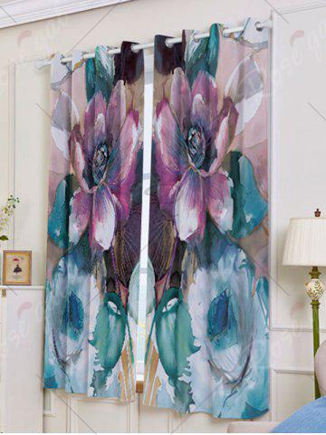 Outfit 2Pcs Floral Bedroom Window Blackout Curtain - W53 INCH * L63 INCH COLORMIX Mobile