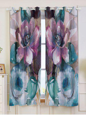 Cheap 2Pcs Floral Bedroom Window Blackout Curtain COLORMIX W53 INCH * L63 INCH