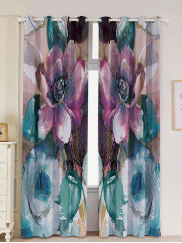 2Pcs Floral Bedroom Window Blackout Curtain - Colormix - W53 Inch * L96.5 Inch