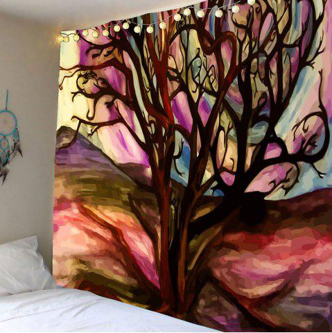 Fashion Oil Painting Life of Tree Wall Hanging Tapestry - W59 INCH * L51 INCH BROWN Mobile