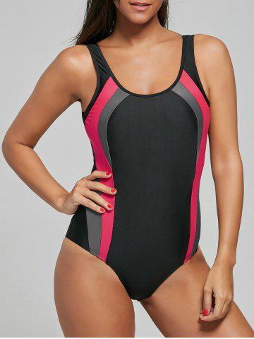 New U Neck Color Block Backless Swimsuit BLACK M