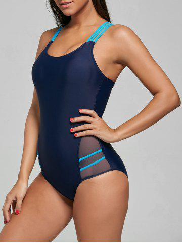 Cheap One Piece Straps Sports Swimsuit - M CERULEAN Mobile