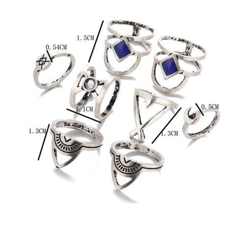 Shop Faux Gem Moon Engraved Geometric Ring Set - SILVER  Mobile