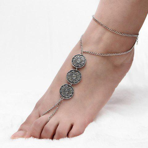 Unique Coin Engraved Floral Slave Anklet