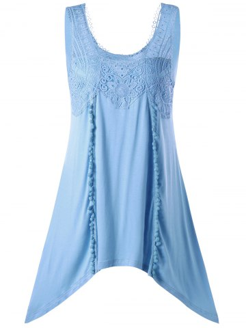 Outfits Tassels Lace Insert Tunic Top