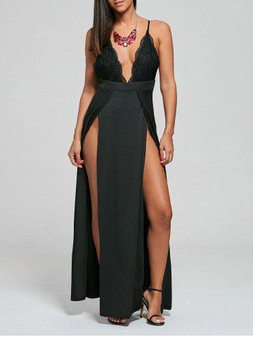 Outfit Backless Lace Panel Slip Maxi Romper