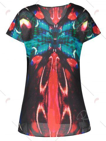 Hot V Neck Butterfly Print Plus Size Top - XL MULTI Mobile