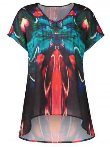 Hot V Neck Butterfly Print Plus Size Top - 2XL MULTI Mobile