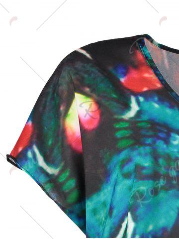 Discount V Neck Butterfly Print Plus Size Top - 5XL MULTI Mobile
