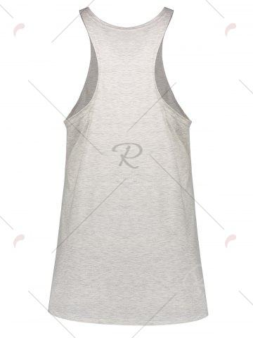 Shop Skull Print Plus Size Racerback Tank Top - 4XL LIGHT GRAY Mobile