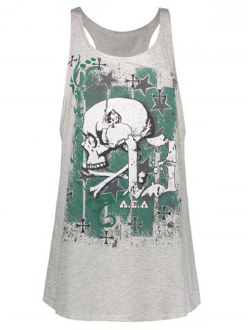 Shop Skull Print Plus Size Racerback Tank Top - 5XL LIGHT GRAY Mobile