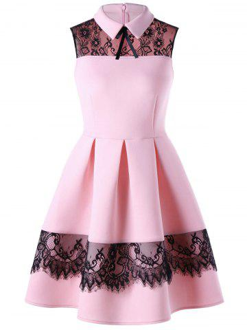 Best Lace Trim Sleeveless Skater Dress PINK M