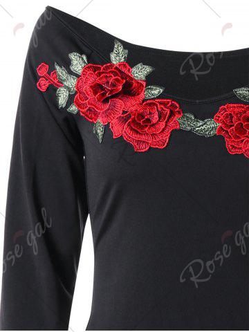 Discount Floral Embroidery Slim Tee Dress - 2XL BLACK Mobile