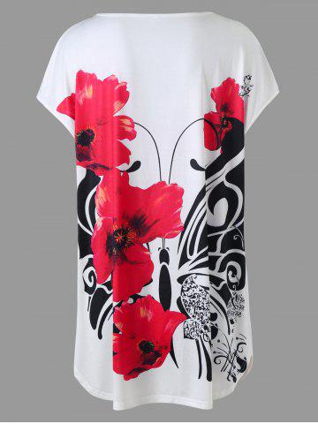 Best Plus Size Floral Tunic Top - XL WHITE Mobile