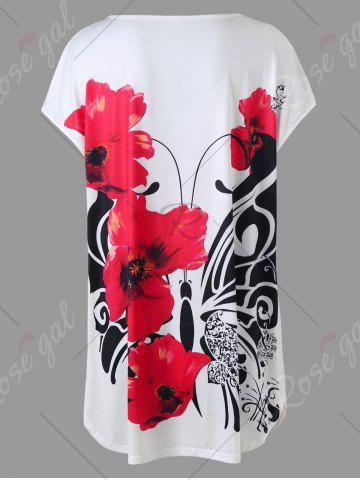 Chic Plus Size Floral Tunic Top - 4XL WHITE Mobile