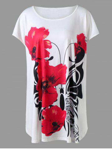 Chic Plus Size Floral Tunic Top - 5XL WHITE Mobile