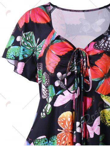 Trendy Plus Size Butterfly Pattern Handky Top - XL BLACK Mobile