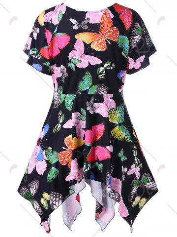 Trendy Plus Size Butterfly Pattern Handky Top - 2XL BLACK Mobile