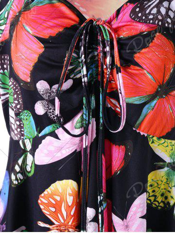 Outfit Plus Size Butterfly Pattern Handky Top - 5XL BLACK Mobile