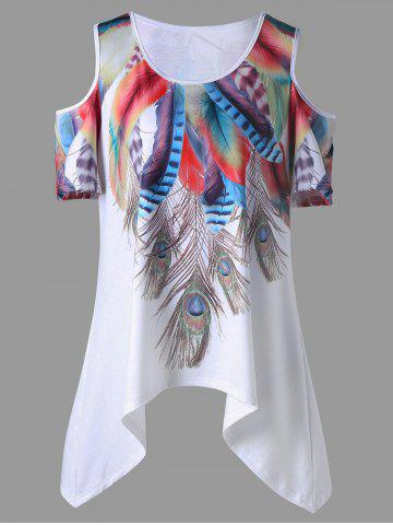 Outfits Plus Size Feather Asymmetrical Cold Shoulder Top WHITE XL