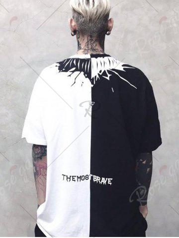 Chic Two Tone Crew Neck Printed Tee - M WHITE AND BLACK Mobile