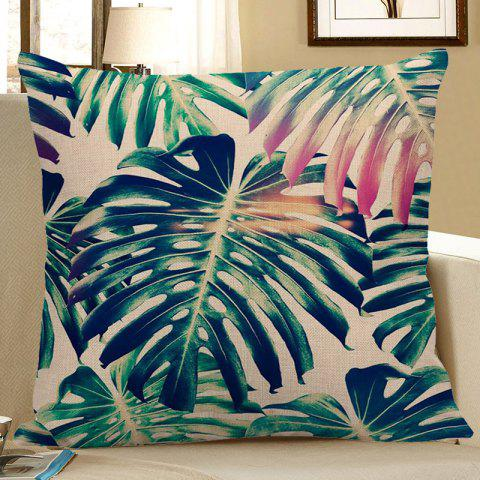 Discount Palm Print Decorative Linen Pillow Case - 45*45CM GREEN Mobile