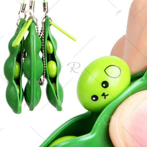 Hot 1 PC Squeeze Beans Stress Relief Toy with Keychain - GREEN  Mobile