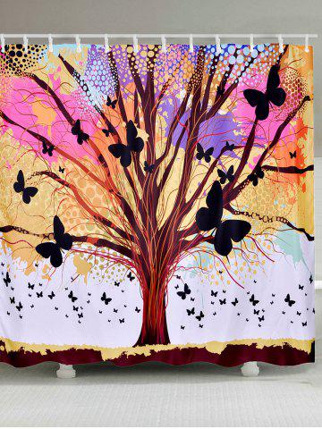 Chic Tree of Life Butterfly Waterproof Fabric Shower Curtain COLORFUL W71 INCH * L71 INCH
