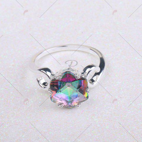Discount Faux Crystal Finger Hexagram Flower Ring - 6 SILVER Mobile