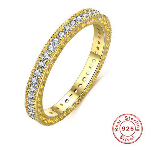 Discount Sterling Silver Rhinestone Finger Ring - 7 GOLDEN Mobile