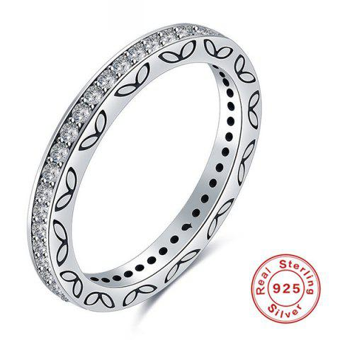 Fashion Engraved Leaf Rhinestone Sterling Silver Ring - 7 SILVER Mobile