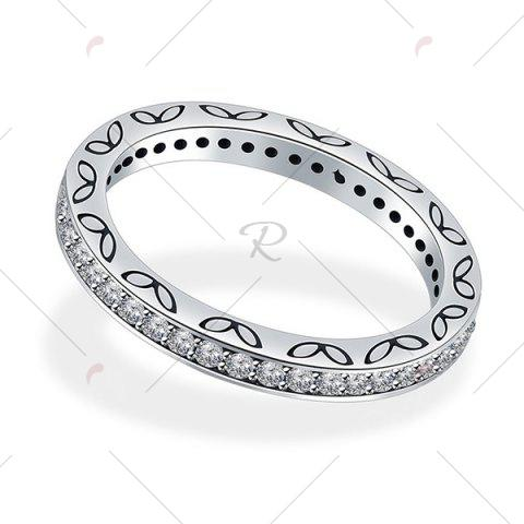 Chic Engraved Leaf Rhinestone Sterling Silver Ring - 7 SILVER Mobile