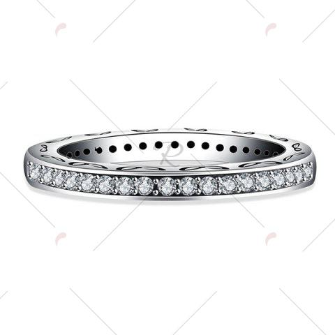 Affordable Engraved Leaf Rhinestone Sterling Silver Ring - 8 SILVER Mobile