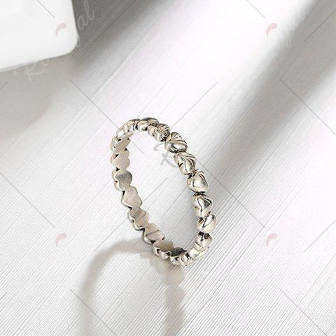 Best Sterling Silver Heart Circle Finger Ring - 7 SILVER Mobile