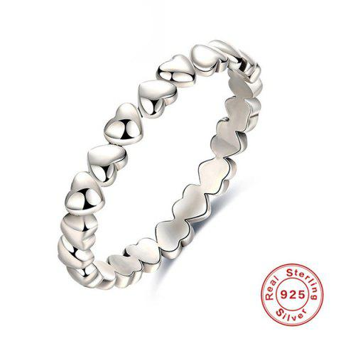 Chic Sterling Silver Heart Circle Finger Ring - 7 SILVER Mobile