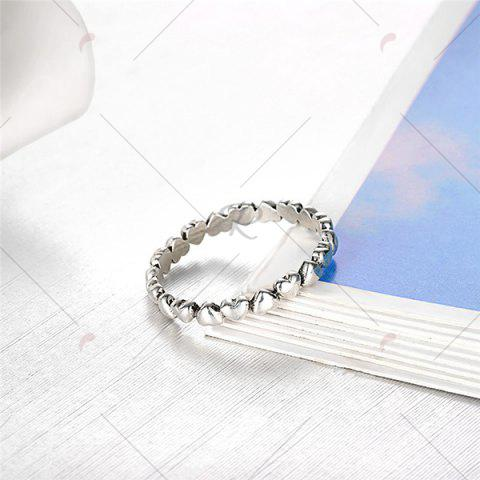 Unique Sterling Silver Heart Circle Finger Ring - 7 SILVER Mobile