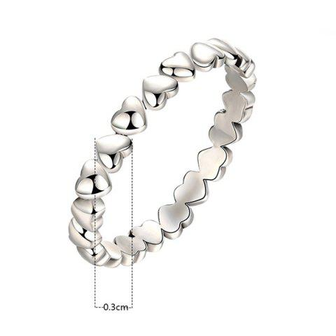 Sale Sterling Silver Heart Circle Finger Ring - 8 SILVER Mobile