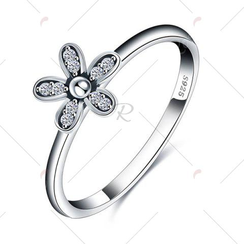 Unique Sterling Silver Rhinestone Flower Finger Ring - 6 SILVER Mobile