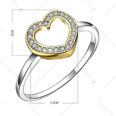 Outfit Rhinestone Heart Sterling Silver Finger Ring - 6 SILVER Mobile