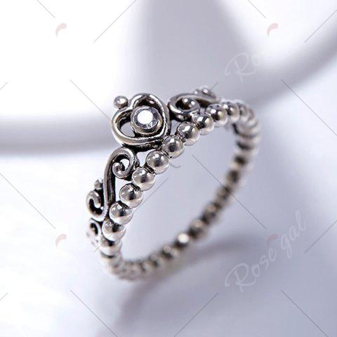 Cheap Rhinestone Sterling Silver Heart Beaded Ring - 6 SILVER Mobile