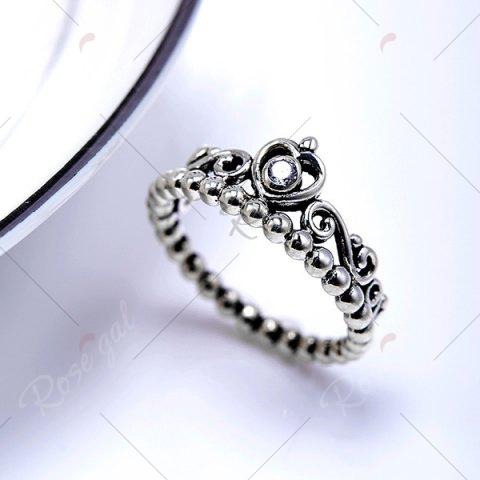 Online Rhinestone Sterling Silver Heart Beaded Ring - 6 SILVER Mobile