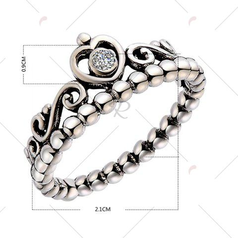 Hot Rhinestone Sterling Silver Heart Beaded Ring - 7 SILVER Mobile