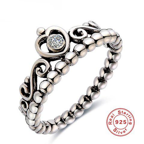 Outfit Rhinestone Sterling Silver Heart Beaded Ring - 8 SILVER Mobile