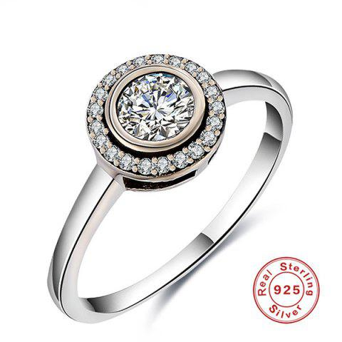 Trendy Sterling Silver Faux Diamond Finger Ring - 7 SILVER Mobile