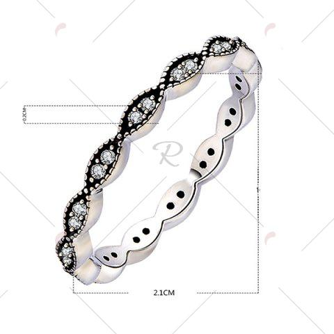 Trendy Rhinestone Circle Sterling Silver Finger Ring - 6 SILVER Mobile
