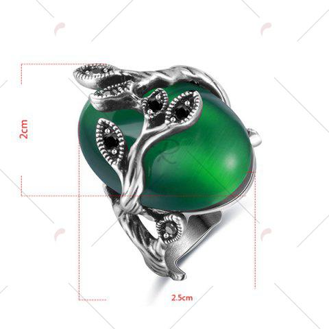Affordable Vintage Faux Emerald Oval Leaf Ring - 8 GREEN Mobile