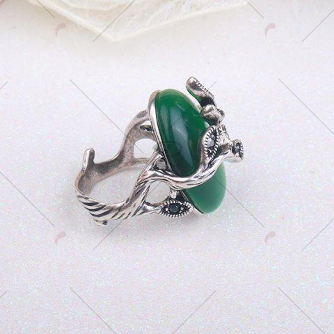 Shops Vintage Faux Emerald Oval Leaf Ring - 8 GREEN Mobile